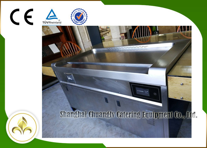 10 Seats SS Smoke Down Exhaustion Rectangle Electric Teppanyaki Table Grill